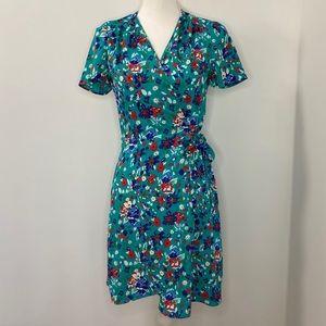 J.Crew Green Floral Wrap Dress-00